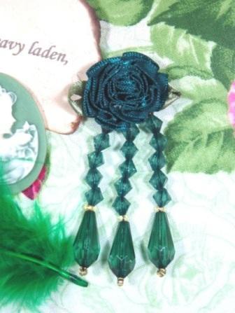 "VD1 Hunter Green Floral Dangle Beaded Applique 2.75"""