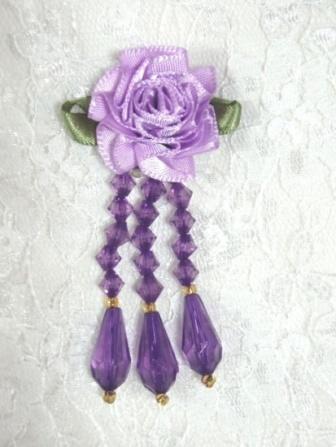 """VD1 Lavender Purple Floral Dangle Beaded Applique 2.75"""""""