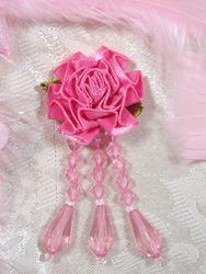 """VD1 Mauve Pink Floral Dangle Beaded Applique 3"""""""