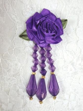 """VD1 Purple Floral Dangle Beaded Applique 2.75"""""""