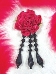 "VD1  Red Black Floral Dangle Beaded Applique 3"""