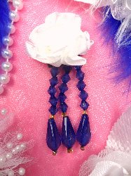 """VD1  Blue and White Floral Dangle Beaded Applique 3"""""""