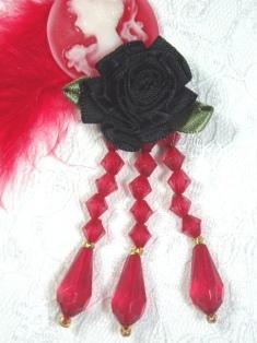 "VD1  Black Floral Red Dangle Beaded Applique 3"""