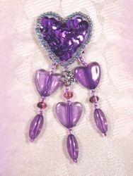 "VD12  Purple Heart Dangle Beaded Applique 3"""