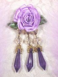 """VD2  Lavender Purple Floral Dangle Beaded Applique 3"""""""