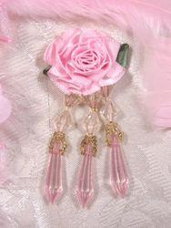 "VD2  Pink Floral Dangle Beaded Applique 3"""