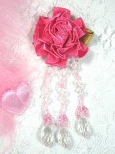 "VD24  Pink Floral Pink Dangle Beaded Applique 3"""