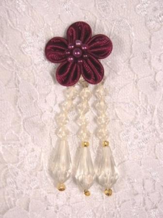 """VD3  Burgundy Ivory Floral Dangle Beaded Applique 2.75"""""""