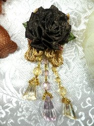 VD37 Applique Brown Floral Slant Beaded Dangle 3.25""