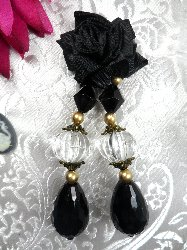 VD38 Applique Black Floral Dangle Black Crystal Beads 3.5""