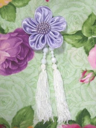 """VD6  Lavender Floral Dangle Beaded Tassel Applique 6"""""""