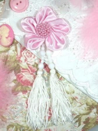 """VD6  Pink Floral Dangle Beaded Tassel Applique 6"""""""