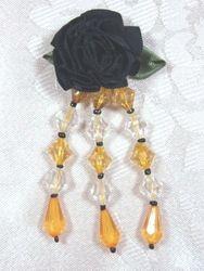 "VD7  Black  W/ Gold Floral Dangle Beaded Applique 3"""