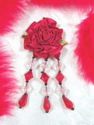 VD7  Red Floral Dangle Beaded Applique 3""