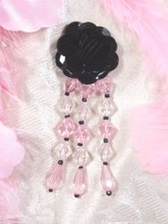 "VD8    Black W/ Pink Floral Dangle Beaded Applique 3"""