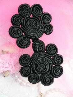 W41 Black Frog Button Closure 3""