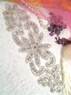 XR14  Priscilla Crystal Glass Beaded Rhinestone Applique 7.5""