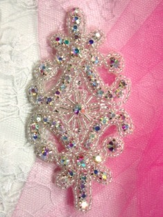 XR15 Aurora Borealis Crystal AB Rhinestone Beaded Applique 4""