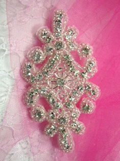 XR15 Clear Crystal Glass Rhinestone Silver Beaded Applique 4""