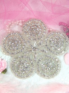 XR8 Five Circle Glass Beaded Rhinestone Applique 4.25""