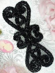 XR103 Black Double Heart  Beaded Applique 5""