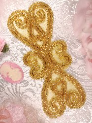 XR103 Gold Double Heart Beaded Applique 5""