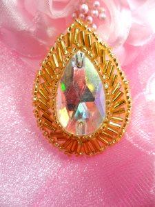 "XR111 Aurora Borealis Crystal AB Teardrop Treasure Gold Beaded Rhinestone Applique 1.75"""