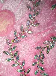 XR115 Aurora Borealis Crystal AB Rhinestone Leaf Vine Trim