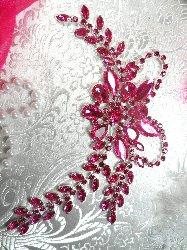 """XR119 Crystal Rhinestone Fuchsia Applique Embellishment 7.5"""""""