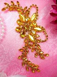 """XR119 Crystal Rhinestone Gold Applique Embellishment 7.5"""""""