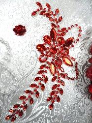 """XR119 Red Crystal Rhinestone Applique Embellishment 7.5"""""""