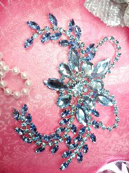 XR127 Ice Blue Crystal Rhinestone Applique Embellishment 7.5""