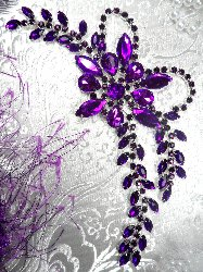 "XR127 Crystal Rhinestone Purple Applique ""Beth"" Embellishment 7.5"""