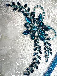 "XR127 Turquoise Crystal Rhinestone Applique ""Bryanna"" Embellishment 7.5"""