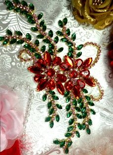 "XR128 Red Green Pink Rhinestone Applique Embellishment 9"" with Gold Backing"