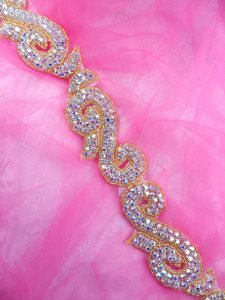 XR130 Gold Backing Crystal Rhinestone Aurora Borealis Gold Beaded Trim