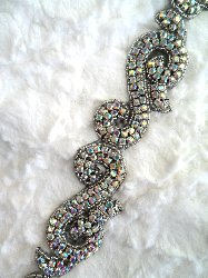 XR130 Black Backing Crystal AB Rhinestone Aurora Borealis Silver Beaded Trim