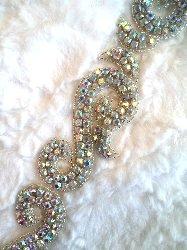 XR130 Crystal Rhinestone Aurora Borealis Silver Beaded Trim