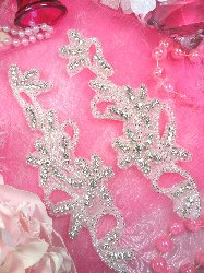 "XR132 Floral Silver Beaded Mirror Pair Crystal Rhinestone Appliques 7"""