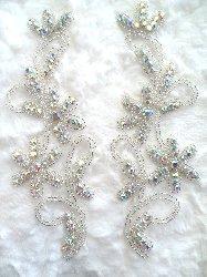 "XR132 Crystal AB Aurora Borealis Rhinestone Appliques Floral Silver Beaded Mirror Pair  7"""