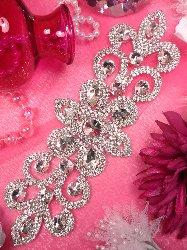 XR144 Silver Crystal Rhinestone Applique Embellishment 9""