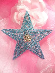 XR154 Beaded Rhinestone Applique Turquoise Star 3.75""