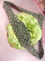 XR155 Aurora Borealis Black Backing Bridal Sash Crystal AB Rhinestone Applique Silver Beaded 27""