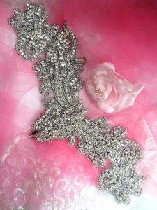 """XR157 Black Backing Applique Crystal Rhinestone Silver Beaded 13"""""""
