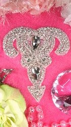 XR167 Crystal Rhinestone Applique Silver Beaded 5.5""