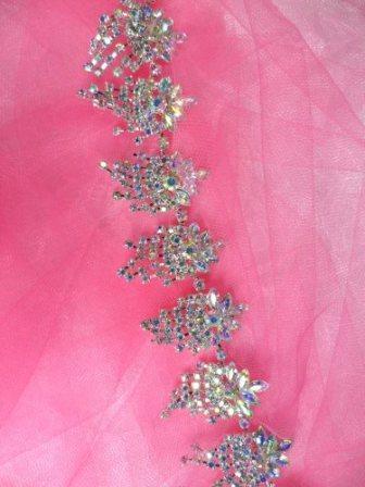 "XR185 Aurora Borealis Glorious Dangles Crystal AB Rhinestone Embellishing Trim 1.5"""
