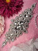 """RMXR202 REDUCED Bridal Sash Applique Crystal Rhinestone 9"""""""