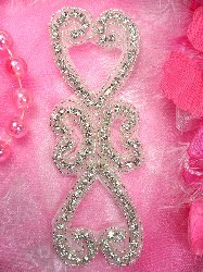 XR221 Double Heart Crystal Clear Silver Beaded Rhinestone Applique 5.75""