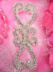 "XR221 Double Heart Crystal Clear Silver Beaded Rhinestone Applique 5.75"""