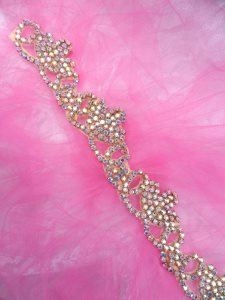 XR243 Gold Backing Rhinestone Crystal Aurora Borealis Elegant Tiara Trim 1.5""